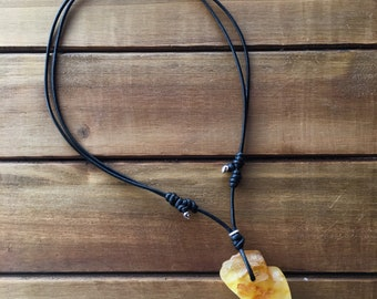 Baltic Amber Leather Necklace - YellowTang
