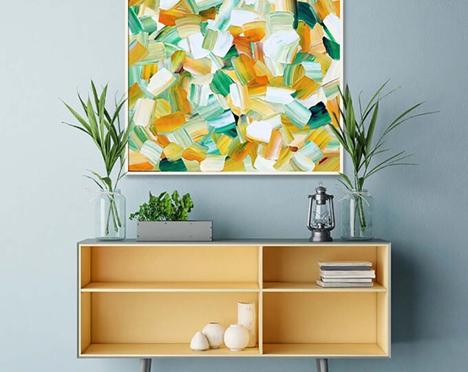 Featured listing image: Lemon Grass ORIGINAL Unique Impasto Abstract Palette Knife Modern High Gloss Painting Fine Art by Merv