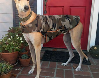 Greyhound Dog Coat, XL Dog Jacket, Green, Brown, and Beige Traditional Camo Fleece with Orange Fleece Lining