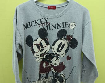 Vintage Mickey Loves Minnie Mouse By Disney Big Logo Sweatshirt Cartoon Sweater Size M
