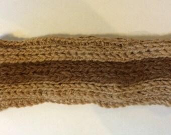 Alpaca Headband/Ear Warmer - Brown and Tan