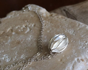 Thai Karen Hill Tribe Silver Pleated Oval Bead, Sterling Silver Chain  Necklace