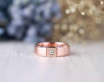 Men's Princess Cut Diamond Wedding Band | Matte Gold Band | Solid 14K Gold | Fine Jewelry | Free Shipping