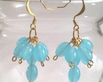Aquamarine Cluster Earrings, Light Blue Beaded Earrings, Aquamarine Glass Bead Jewelry, Dangle Earrings, Statement Jewelry