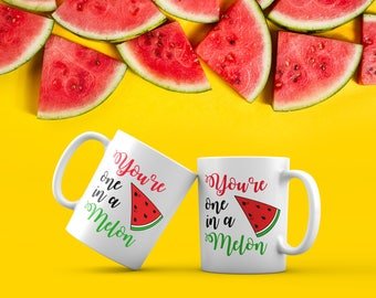 BijouLand - You are one in a melon, 1 (one) Ceramic Coffee Mug, 11-Ounce, White, Funny Cute Coffee Mug, Perfect Birthday Gift