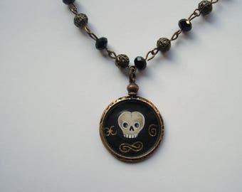 antique mourning pendant necklace miniature handpaint memorial locket glass vintage skull handpaint miniature