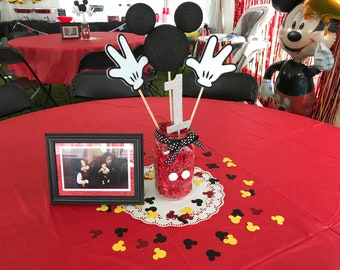 "120 Mickey Mouse Die Cuts, 1.5"" - Red, Black, Yellow, White - confetti, for birthday parties."