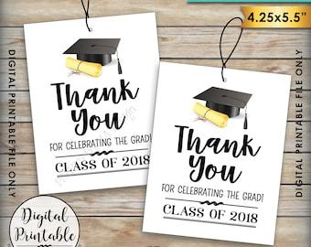 Graduation Tags, Class of 2018 Graduation Party Thank You Tags, Thank Graduation Guests Thanks from the Grad Tag, Instant Download Printable