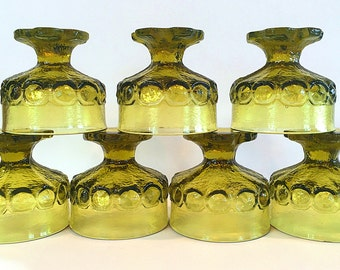 Franciscan Madeira Citron Green Sherbet Champagne Glasses Uranium Set of 7 Tiffin Interpace Medieval Brutalist Mid Century Gothic