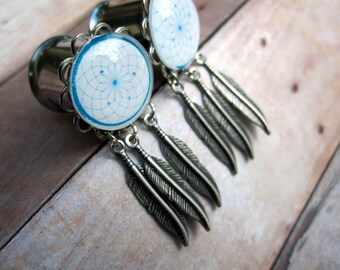 """Pair of Silver Dreamcatcher Plugs with Feather Charms - Handmade Girly Gauges - 10g, 8g, 6g, 4g, 2g, 0g, 00g, 7/16"""", 1/2"""", 9/16"""", 5/8"""", 3/4"""""""