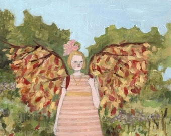 giclee print of original oil painting- bonnie wore wings of autumn  - limited edition