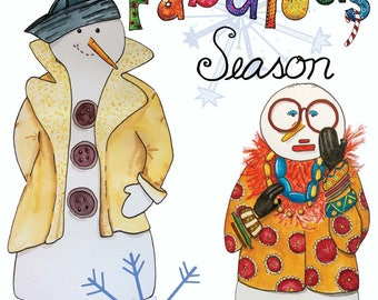 Box Set - Christmas Card - Holiday Card -Snowman Card -Wishing You a Fabulous Season  -GC407