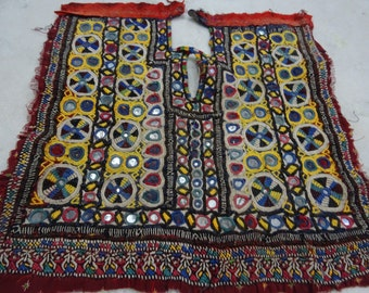 Indian Vintage Neck Yoke Embroidery OF Beads Work And Mirror work Handmade Applique Patch Sewing craft, cotton fabric neck yoke 9
