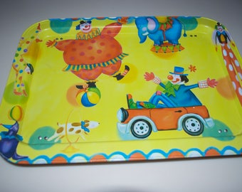 Clown Vintage Metal Tin Bed TV Tray with Legs