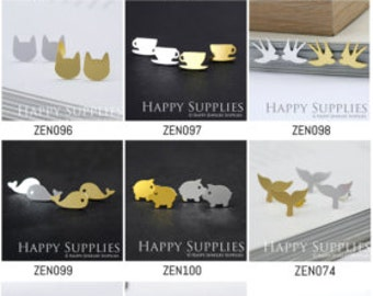 ALL Design - Dual-used Golden / Silver / Rose Gold Brass Earring Post Finding with Ear Stud Stopper (ZEN078-ZEN117) (PP)