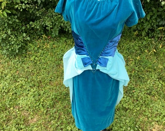 Vintage Blue Velvet Beaded Party Dress // 1960s Jonathan Logan Designer Turquoise Formal Cocktail Dress // 60s Formalwear Homecoming Dress