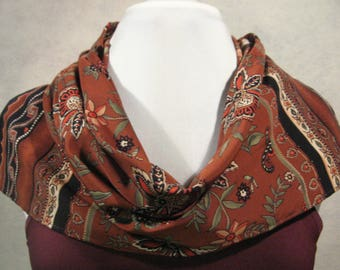 Fall Scarf, Fall Clothing, Floral Scarf, Rust Colored Scarf, Fall Paisley Scarf, Gift for Her, Fall Fashion, Fashion Clothing