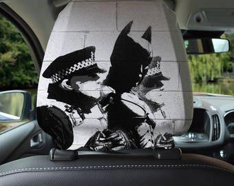 Banksy Batman Design Car Seat Headrest Cover 2 Pack Made In Yorkshire Gift For Grandad