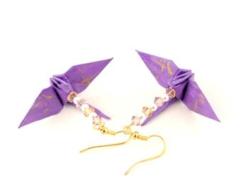 Harmony Kanji on Orchid Purple Origami Crane Earrings -- Gold Plated Hooks Jewelry Radiant Orchid