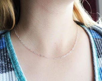 Sterling Silver 16 inch Chain- Silver Necklace Supply Flat Oval Cable - New Chain Add On- Stamped 925 Thin Short Chain