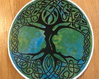 Round Tree of Life Vinyl Sticker, Peace Hand Sticker, Scrapbooking Hippie Decal Sticker, Bumper Sticker, Laptop Decal, India Sticker, Circle