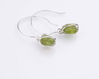 Peridot Drop Earrings,  August Birthstone, Lime Green Gemstone and Sterling Silver Earrings, Heart Chakra