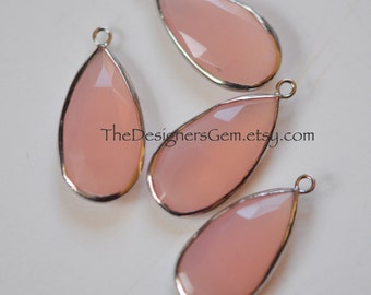 PINK CHALCEDONY Pear Pendant with Sterling Silver Bezel - Tear Drop, Connector, Earrings