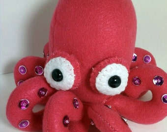Octopus plush- hot pink with pink suckers
