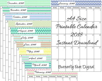 A4 Size 2018 Printable Calendar, Chevron Design, Monthly Calendar, Instant Download