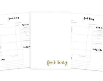 B6 Food Diary Printable Insert - TN - Plain Cover