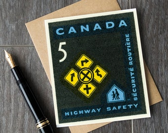 New driver gift, new driver congratulations, congratulations card, canada highway safety stamp, new car card, Canadian stamp art print sets
