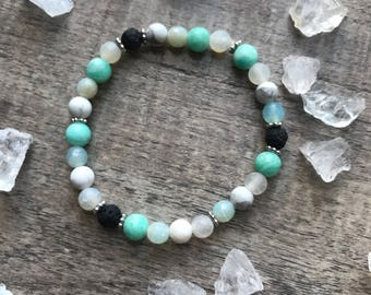 Amazonite, Howlite and Agate Diffuser Bracelet