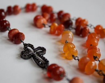 Orange Red Fire Opal, Wrapped Oxidized Sterling Silver Wire, Black Rhodium SS Cross Connector with Black Onyx Cz's, Necklace