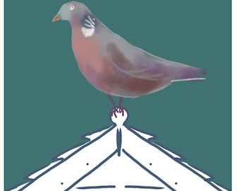 Wood Pigeon Card - Normandy Faitage - Garden Birds Blank Card