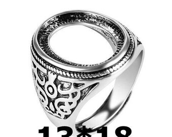 4pcs Antiqued Silver Color  Alloy Metal  Adjustable  Rings 13x18mm Oval Cameo Setting