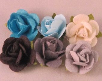 Set of (6) Paper Rose Lapel Pin - Blue & Gray Collection - X-Small - Everyday / Weddings / Proms