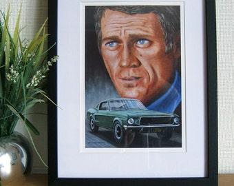 Steve McQueen, Bullitt Mustang painting, A4 print