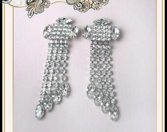REDUCED Vintage Long Rhinestone Dangle Earrings Wedding Bridal Christmas Prom Party