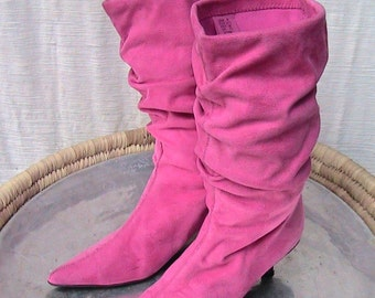 Size 9 Pink Suede Slouch Boots
