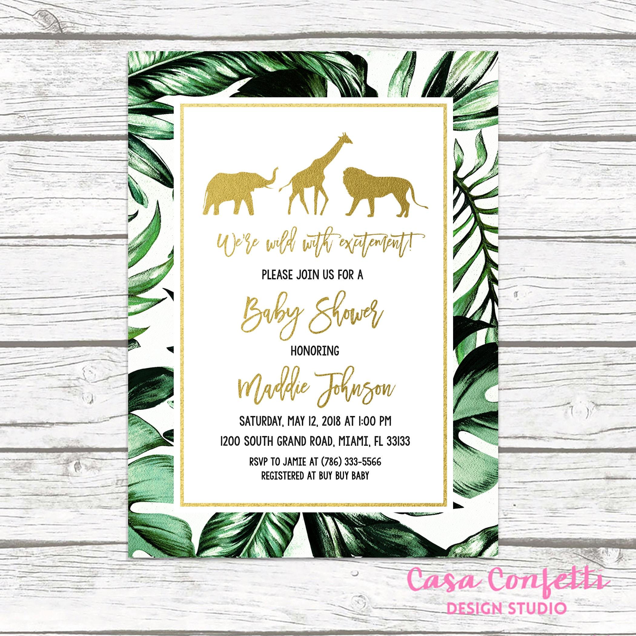 Safari Baby Shower Invitation, Gold Safari Baby Shower Invitation, Leaf Safari  Baby Shower Invitation, Jungle Animal Baby Shower Invite