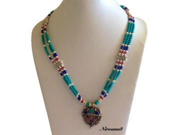 Lapis Turquoise Coral Necklace