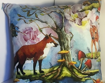 Watercolor fantasy fabric, with woodland theme, pillow