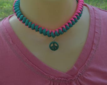 Teal and Pink Choker Necklace Paracord Choker Necklace Paracord Jewelry Festival Necklace Rave Choker Peace Sign Choker Collar Necklace