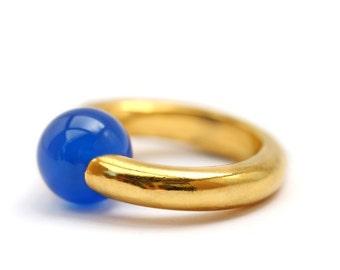 Blue agate ring - minimalist gold jewelry