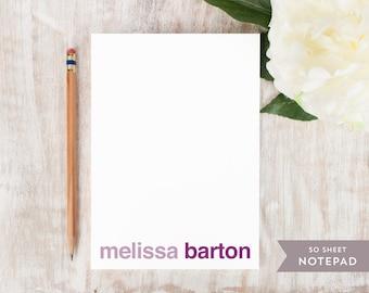 Personalized Notepad - BASELINE BOLD  - Stationery / Stationary Notepad - youthful girls womens mens stationery