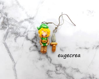 Warrior earrings and his sword in fimo and stainless steel