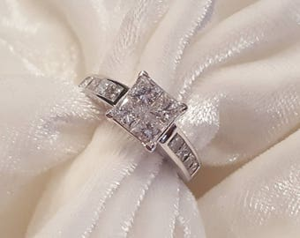 1.5ct Princess cut 14k White Gold Engagement Ring