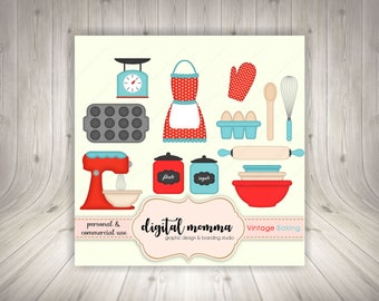 Vintage Baking Clipart, Kitchen, Baking Clipart, .PNG, Personal & Commercial Use, Instant Download!