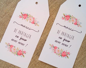 10 wedding labels, thank you tag, wedding