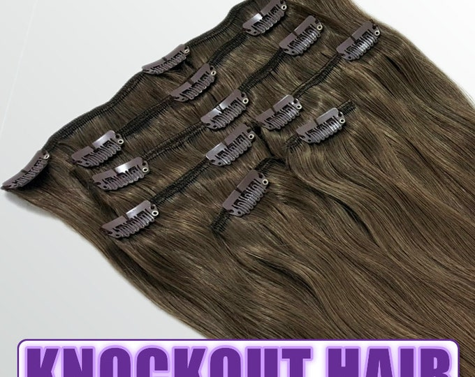 """Clip In Human Hair Extensions 18"""" - 120 Grams Full Head Remy Premium Grade AAAAA Double Wefted (Medium Ash Brown #5A)"""